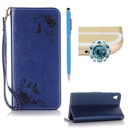 SKYXD Leder Hülle für Sony Xperia Z3 Rosen Blumen und Schmetterlings Muster,PU Folio Klappbar SchutzHülle [Brieftasche Kartenfach / Magnet / Standfunktion / Trageschlaufe] KlappHülle für mit [Krone Handyanhänger + Eingabestift] 3 in 1 Zubehör Set Handy Tasche Etui for Sony Xperia Z3 Bookstyle Flip Case Leather Cover With [Stylus and Dust Plug]- Dunkelblau