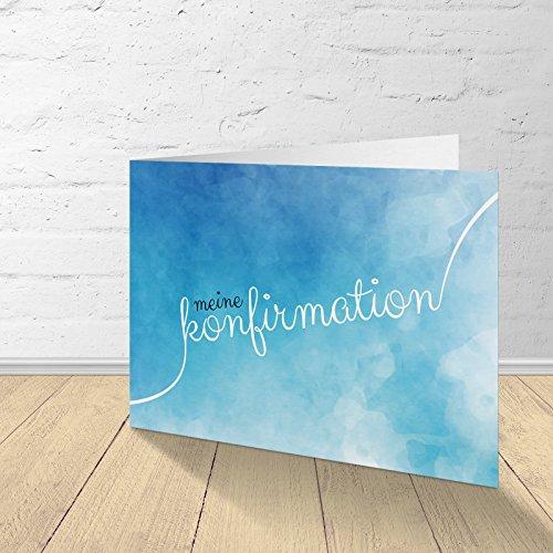 """5 Karten zur Konfirmation mit passenden Umschlägen, Einladungskarten zur Konfirmation, Klappkarten im Set zu 5 Stk. Motiv""""Wasserfarbe_blau"""""""