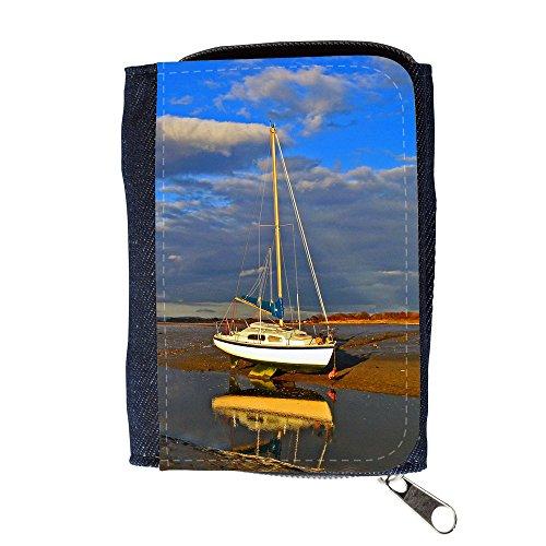 Portemonnaie Geldbörse Brieftasche // F00029347 Einsame Yacht auf seine Knochen // Purse Wallet (Knochen Wallet)
