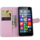 Tasche für Nokia Microsoft Lumia 640 XL Dual-SIM Hülle, Ycloud PU Ledertasche Flip Cover Wallet Case Handyhülle mit Stand Function Credit Card Slots Bookstyle Purse Design rosa