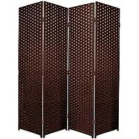 Separador de espacios plegable de 6 paneles, marrón oscuro, 4