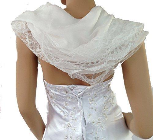 LadyMYP 200cm 80cm étoles en mousseline de soie foulard en mousseline de soie avec dentelle plus de couleur Blanc