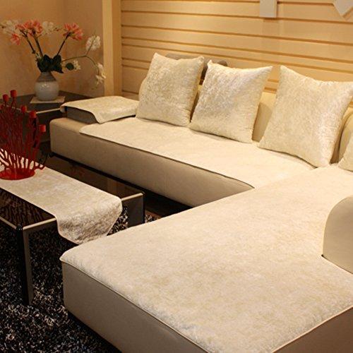 JiaQi Plüschsofa slipcover,Sofa abdeckungen für ledersofa,Möbel-Protector für 1 2 3 4 Kissen Sofa Sofabezug arm Couch-Protector für Hund Universal-sitzer-Weiß 60x210cm(24x83inch)