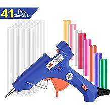 Pistola de silicona, Lnkey pistola de pegamento con 41 barras de pegamento alta temperatura, pistola de encolar para artesanía de bricolaje rápidas (20-watt, Azul)
