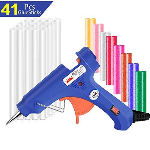 Diy-kunst (Heißklebepistole Klebepistole mit 41 Heißklebesticks 7mm, Lnkey 20-Watt Schmelzende Klebepistole Set,Hohe Temperatur Pistole für Schule DIY Kunst und Handwerksprojekte,Hausreparaturen (Blau))