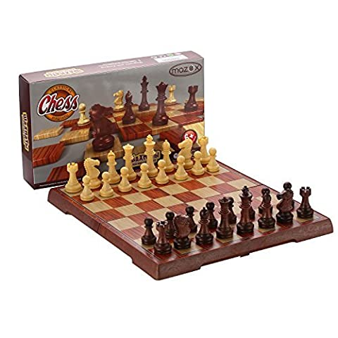 Folding Travel Imitation Wood Color Magnetic Chess Set by MAZEX