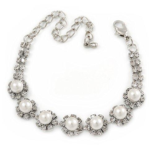 Brautschmuck/Ball/Hochzeit simuliert Pearl Kristall Blumen Armband in Silber Ton–14cm L/8cm EXT (für kleinere Handgelenke)
