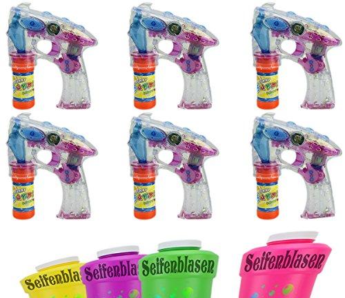 enpistolen Inkl. 1Liter Seifenblasenlauge Set SEIFENBLASEN PISTOLE mit LED und SOUND! Seifenblasenmaschine 6 STK GYD (Bubble Guns Für Hochzeiten)