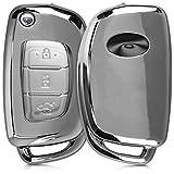 kwmobile Autoschlüssel Hülle für Hyundai - TPU Schutzhülle Schlüsselhülle Cover für Hyundai 3-Tasten Autoschlüssel Klapp Hochglanz Silber