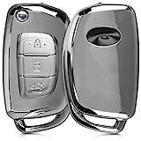 kwmobile Hyundai Autoschlüssel Hülle - TPU Schutzhülle Schlüsselhülle Cover für Hyundai 3-Tasten Autoschlüssel Klapp Hochglanz Silber