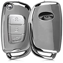 kwmobile Car Key Cover Compatible with Hyundai 3 Button Flip Key - Soft TPU Fob Cover for Car Keys - Silver High Gloss