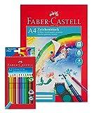 Faber-Castell 201299 - Zeichenblock A4 mit 12 Colour Grip Buntstiften im Kartonetui