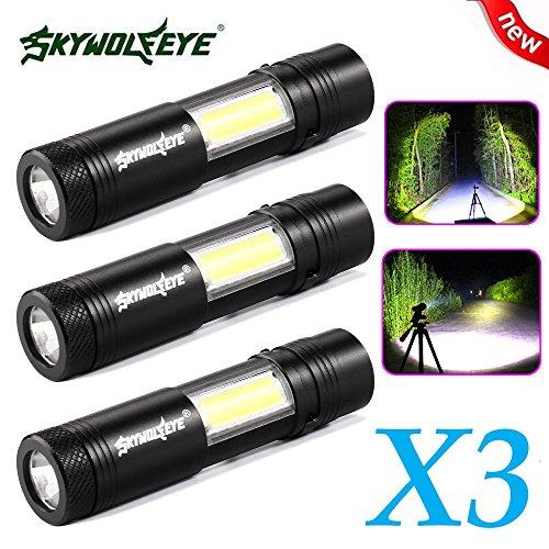 Taschenlampe ,COLORFUL_ 3x Mini Taschenlampe XPE Q5 + COB LED Taschenlampe Lampe Penlight AA / 14500 4 Modi ,Outdoor Tragbare Taschenlampe , High Powered