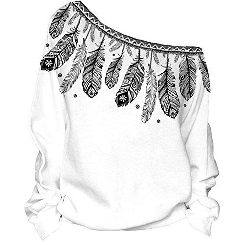 COUSIN CANAL Donna Maglioni Sweatshirts Pullover Casuale off Spalla Manica Lunga Tops Felpe