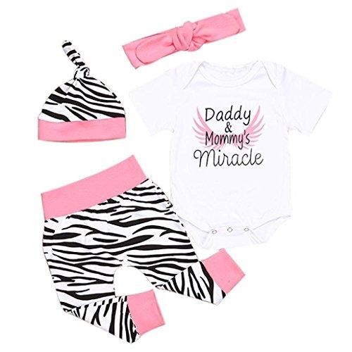 Bekleidung Longra 4pcs Säugling neugeborenes Mädchen Strampler Tops + Hosen + Hut + Stirnband Baby Kleider Bekleidung Sets (0-18 Monate) (70CM 6Monate)