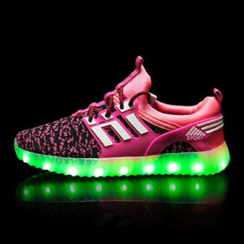 H-Mastery Unisexe enfants LED Chaussures 7 Couleur USB Charge Chaussure Lumineuse Clignotants Sports Chaussures Printemps-Été-Automne Respirante Lumineuse Chaussure Violet