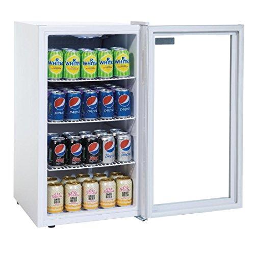 Mini Flaschenkühlschrank, Tischgerät, Getränkekühlschrank ideal für Dosen, Bierflaschen und PET Flaschen 90 Liter mit Einstellbares Thermostat sowie Roste und Füße Ideal auf der - Mini-kühlschrank-bier-flaschen