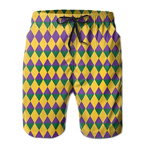 Funny&shirt Mardi Gras Colors Mardi Gras Men's Swim Shorts Printed Quick Dry Board Shorts X-Large - Velvet Holiday-outfit