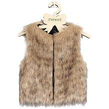 VLUNT Chaleco de Piel para Niños Ropa de Piel Sin Mangas Niña Abrigo Invierno Fur Vest Niña Chaleco Invierno (Negro)