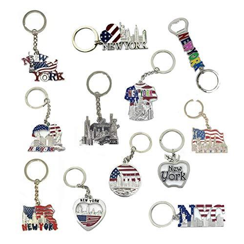 12Stück New York NYC Metall Schlüsselanhänger Ring Bundle Souvenir Sammlung, Geschenk-Set-Beinhaltet Empire State, Freedom Tower, Freiheitsstatue, USA Flagge, und mehr