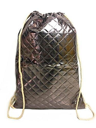 CAPRIUM Turnbeutel Tasche Rucksack Jutebeutel Muster Hipster Beutel Gym Stringbags Bag gesteppt, Unisex (Space Grau)