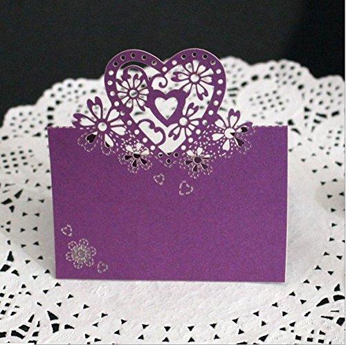 Dosige Herz Lace Schneiden Tabelle Statt Karten Name Nummer Hochzeit Party Dekoration Lila 50 Stück