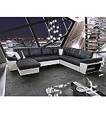 Canapé d'angle convertible panoramique Tivoli Noir et Blanc