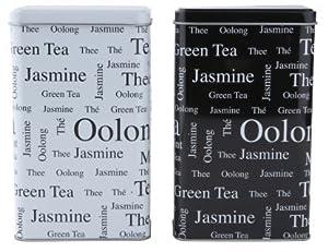 Lot de 2–Thé noir et blanc Boîtes–Boîte à thé rectangulaire de style vintage/Caddy/cuisine Boîte de rangement/boîte à–hermétique