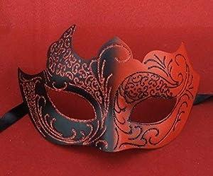 The Rubber Plantation TM 619219290418 - Disfraz de máscara veneciana de Halloween, diseño de diablo, talla única, color rojo y negro