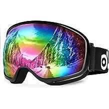 Gafas de esquí, ODOLAND Gafas de esquí para adultos hombre y de la Mujer- protección UV400 y Anti-Fog - Doble Gris de lente esférica cómodo para los soleados y nublados días perfectos para el patinaje de esquí motos de nieve (VLT 20% Negro)