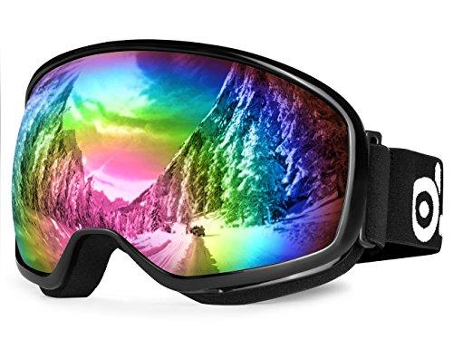 Skibrille, Odoland Snowboardbrille für die Jugendliche 8-16 Jahre - UV400 Schutz und Anti-Beschlage - Doppel Grau Sphärische Linse bei sonnigem und bewölktem Tagen (VLT 20% Große freie Aussicht Schwarz)