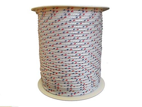 4mm – 100m Polyesterseil – Grundfarbe weiß mit Kennung rot/blau auf Rolle von Hummelt®