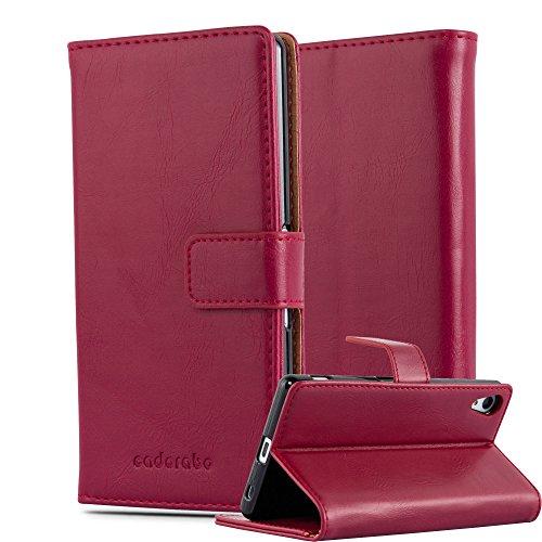 Cadorabo Hülle für Sony Xperia Z4 - Hülle in Wein ROT – Handyhülle im Luxury Design mit Kartenfach und Standfunktion - Case Cover Schutzhülle Etui Tasche Book