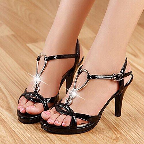 Tacco-Leather Sandals femminile dia tacco Belle High Heel Black