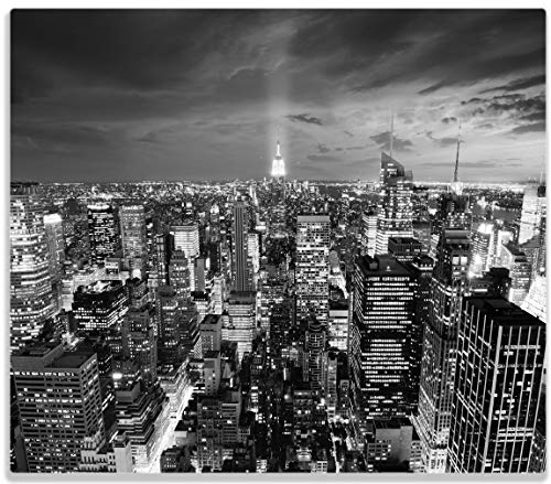 Wallario Herdabdeckplatte/Spritzschutz aus Glas, 1-teilig, 60x52cm, für Ceran- und Induktionsherde, New York bei Nacht - Panoramablick über die Stadt - schwarzweiß
