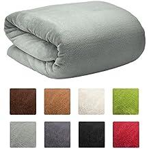 Beautissu XXL Manta Aurelia de sofá y cama suave cálida 150x200cm Microfibra forro polar Coral ÖKO-TEX Gris claro