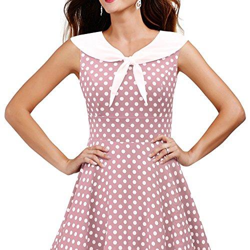 'Clio' 50's Polka-Dots Kleid mit besetztem Ausschnitt - 3