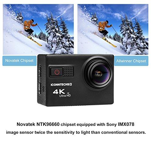 ICONNTECHS IT 4K Ultra HD Wasserfeste Sport-Actionkamera, 170° Weitwinkellinse, Full HD 1080P WiFi HDMI camcorder, Gratis Zubehör für Helm, Tauchen, Radfahren und Extremsport - 3