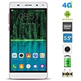 Smartphone 4G LTE Unlocked, Padcod MTK6737 1.3Ghz Quad-core Android 7.0 SIM Free Mobile Phone, Fingerprint Dual Sim Cell Phone, 5.5 Inch HD Display Cellphone with Dual Camera 2G RAM+16G ROM (Red)