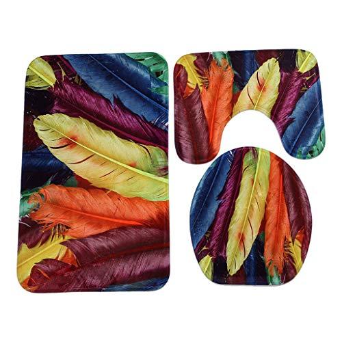 Yvelands tappetino antiscivolo per moquette + coperchio copri-wc + set tappetino da bagno