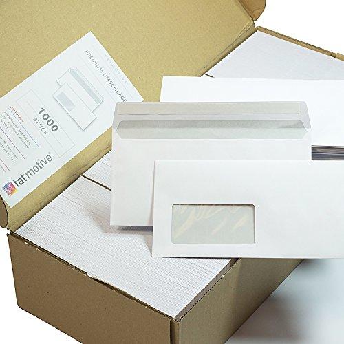 TATMOTIVE Briefumschläge DIN lang Mit Fenster (1000 Stück) Mit Haftklebestreifen (kein Austrocknen - bis 5 Jahre!) 220 x 110 mm, 80 g/qm