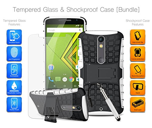 mobibax Ultimate Bundle für Motorola Moto X Play (2015) Dual Sim – gehärtetes Glas Displayschutzfolie, stark Haltbar Heavy Duty stoßfest Armour Case Grip Cover & Retractable Stylus Touchscreen Stift weiß weiß (Retractable Screen Touch Stylus)