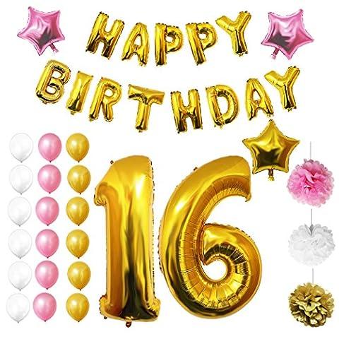 16. Geburtstag Luftballons Happy Birthday Folienballons Party Zubehör Set & Dekorationen von Belle Vous - große Folienballons für den 16. Geburtstag - Gold, weiß & rosa Latex-Ballon-Dekoration - Dekor für alle Jugendlichen geeignet