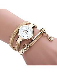 Feitong - Reloj con pulsera de metal y correa para mujer, de moda, novedad, mujer, Feitong, dorado