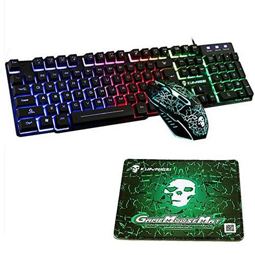 FELiCON® Gaming Teclado y Ratón Combo Rainbow LED con retroiluminación USB Ergonomic Multimedia Gamer T6 Conjuntos de mouse de teclado con cable Optical 2400DPI 6 botones + alfombrilla de ratón GRATIS
