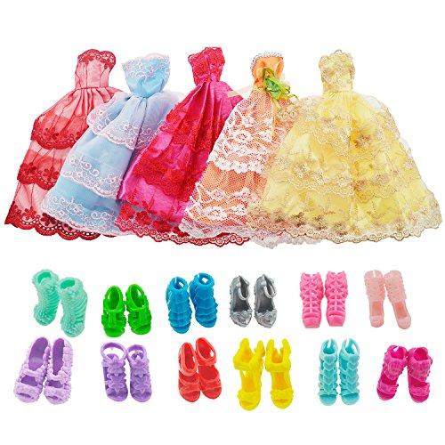 asiv-5-abiti-fatti-a-mano-e-10-paia-di-scarpe-per-bambole-barbie