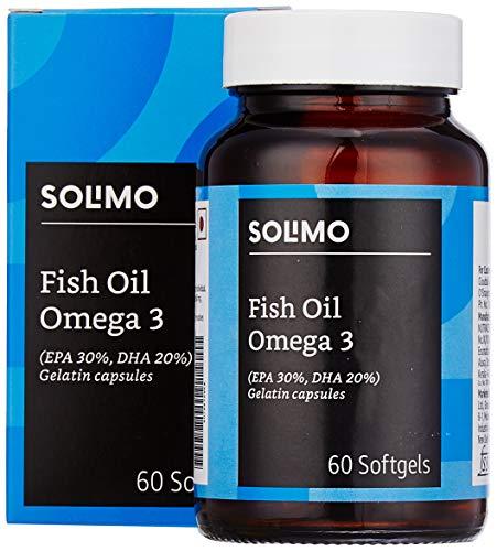 Amazon Brand - Solimo Omega-3 Fish Oil 1000mg with 30% EPA and 20% DHA - 60 Softgels