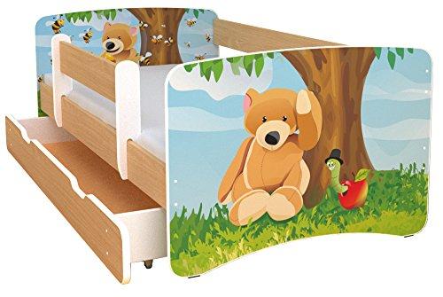 Best For Kids Kinderbett 80×160 mit Rausfallschutz bunte Seitenteile in natur Farbe mit 10 cm Matratze und mit Schublade viele Designs