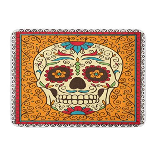 LIS HOME Fußmatten Bad Teppiche Outdoor/Indoor Fußmatte Red Day Mexican Sugar Skull Gelb Dead Muster Grafik Halloween Badezimmer Dekor Teppich Badematte (Benutzerdefinierte Halloween Grafik)