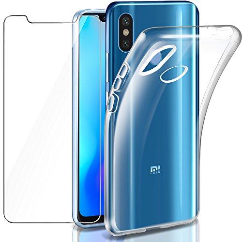 "Leathlux Funda + Cristal para Xiaomi Mi 8, Transparente TPU Silicona [Funda + Vidrio Templado] Ultra Fino Protector de Pantalla 9H Dureza HD y Flexible Back Case Cover para Xiaomi Mi 8-6.21"""
